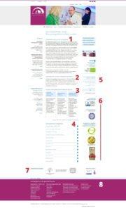 Bewährte Startseitenstruktur Unternehmenswebsites, Orthoparc Klinik