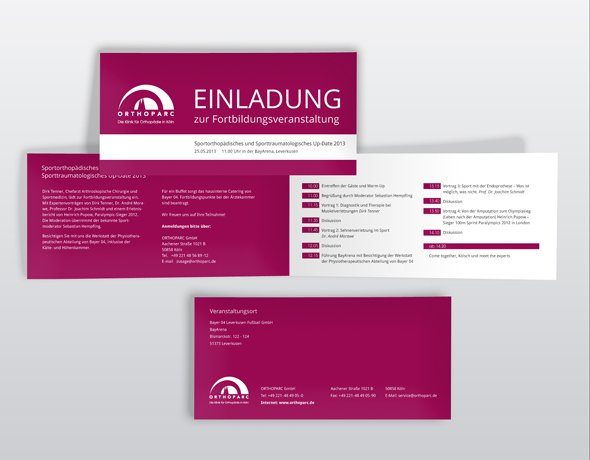 corporate design für Ärzte, weihnachtskarte orthoparc klinik, Einladung