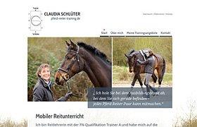Screenshot der Website der Reitlehrerin Claudia Schlüter, mobiler Reitunterricht