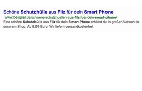 Beispiel Suchergebnis bei google