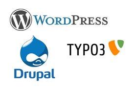 Logos von Wordpress, Typo3 und Drupal