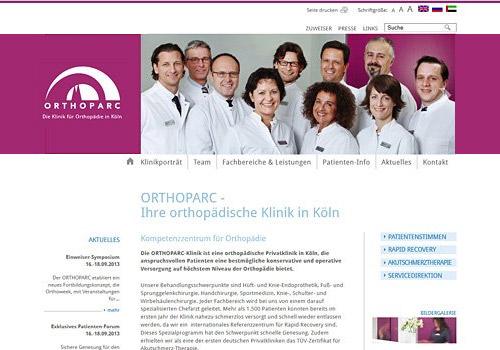 Webdesign für ORTHOPARC Klinik