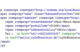 Schema.org: Unternehmens-Adressdaten als item.properties ausgezeichnet
