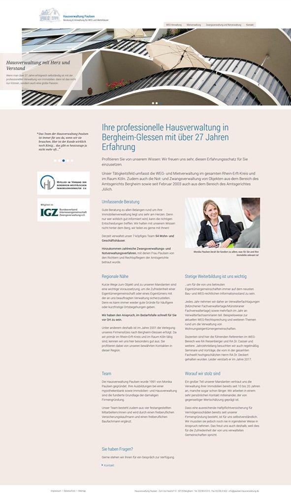 Webdesign aus Köln für Hausverwaltung Paulsen Startseite