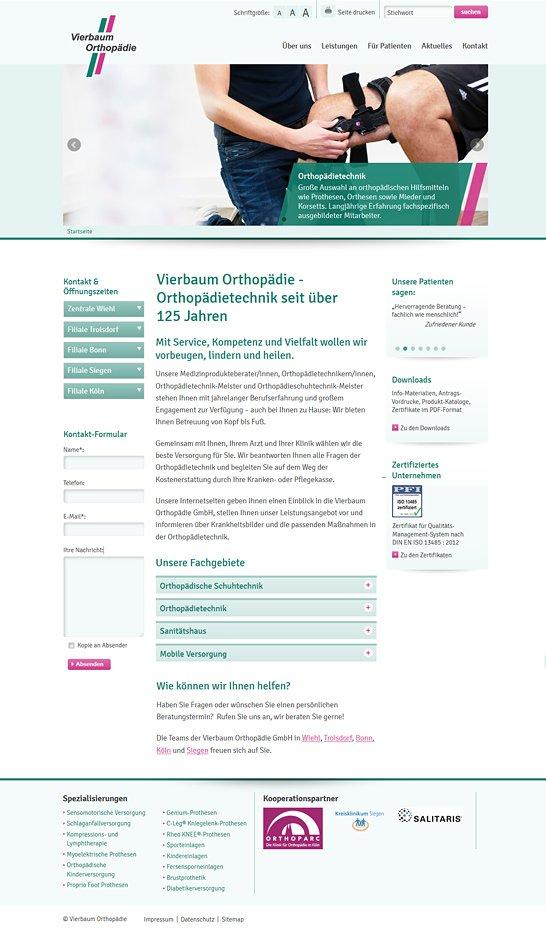 Webdesign aus Köln für Vierbaum Orthopädietechnik