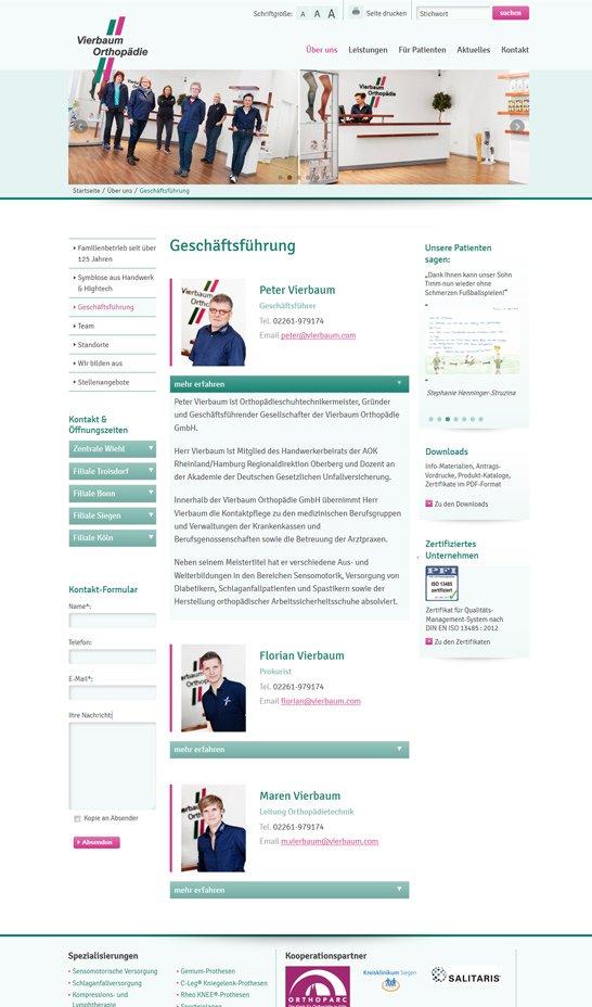 Webdesign aus Köln für Vierbaum Orthopädietechnik Bild 2