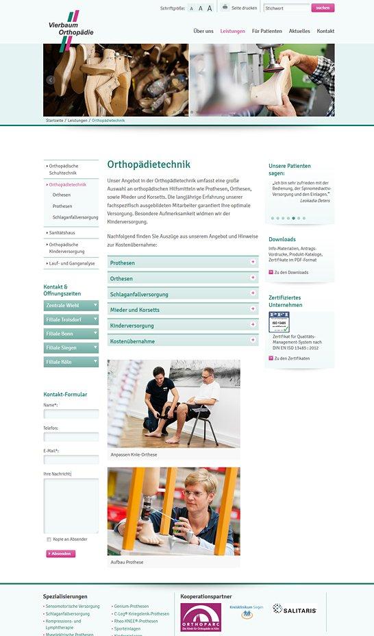 Webdesign Vierbaum Orthopädie