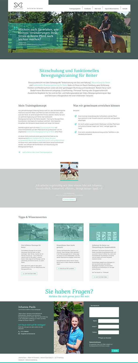 Webdesign Reiten mit Fairstand, Startseite