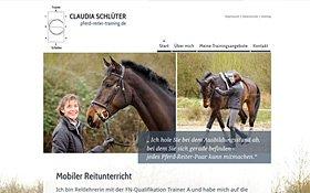 Webdesign für Claudia Schlüter, Reitlehrerin