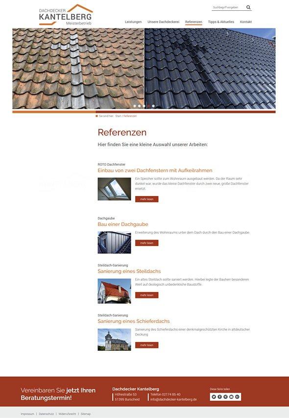 Webdesign Dachdecker Kantelberg, Gründach