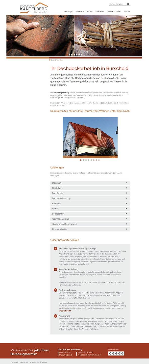 Webdesign Dachdecker Kantelberg, Startseite