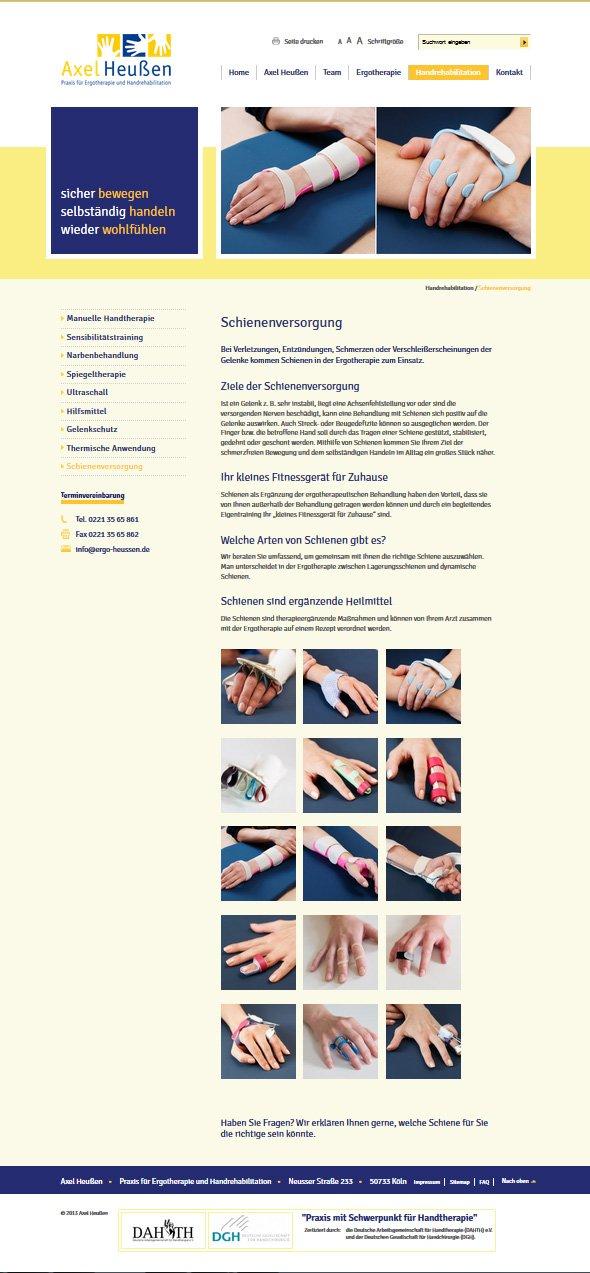 Ergotherapie Heussen, Schinenversorgung