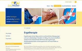 Webdesign für Ergotherapie Heußen, Köln. Thumb