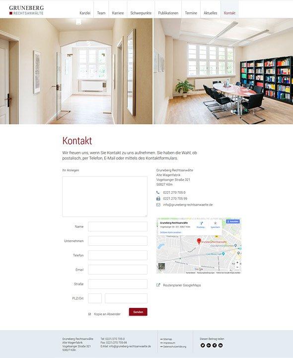 Webdesign für Gruneberg Rechtsanwälte, Kontakt