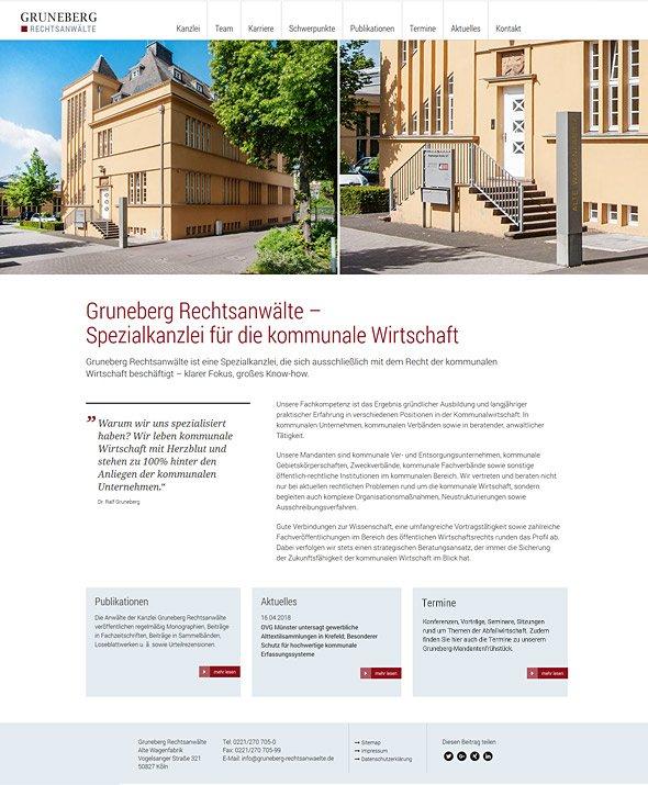 Webdesign für Gruneberg Rechtsanwälte, Köln. Startseite.