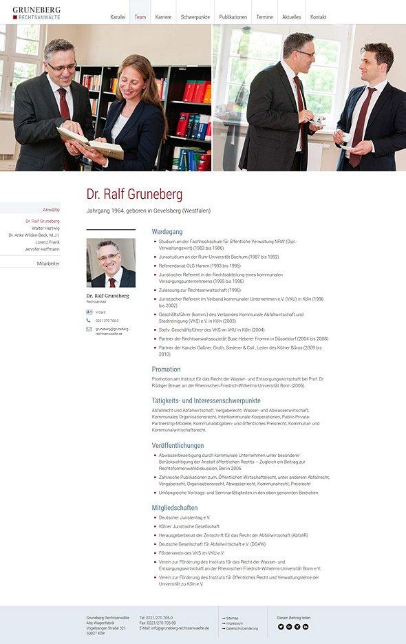 Webdesign für Gruneberg Rechtsanwälte. Team