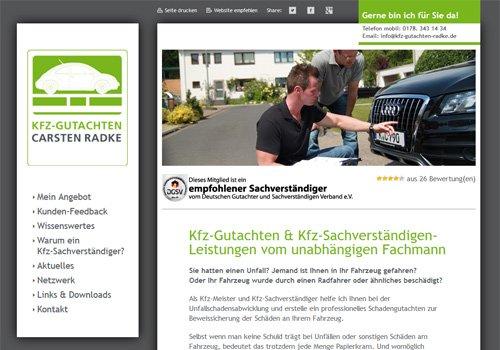 Webseite Wordpress KFZ-Gutachten Carsten Radke