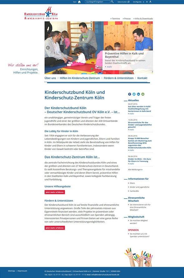 Responsive Webdesign für Kinderschutzbund & Kinderschutzzentrum Köln