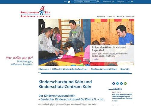 Responsive Webdesign für Kinderschutzbund & Kinderschutzzentrum Köln, Voransicht in Seite zu ausgewählten Projekten