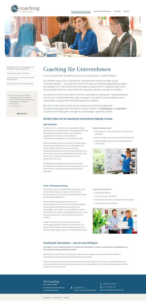 Webdesign Köln, Referenz AS Coaching, Coaching für Unternehmen