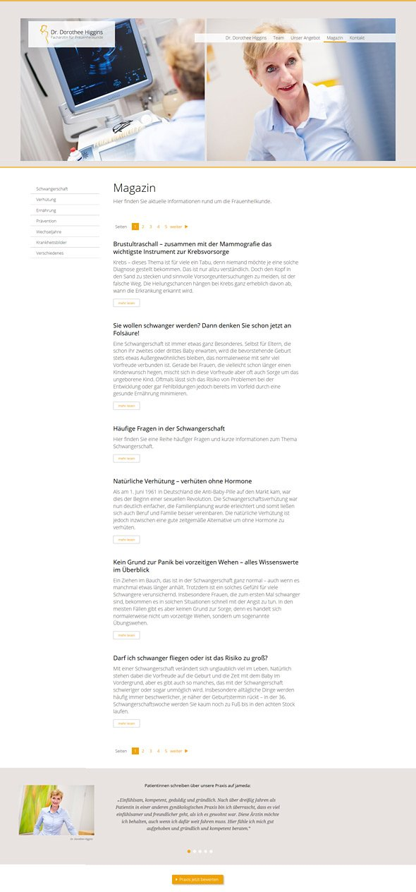Webdesign für Ärzte, Referenz Dr. Higgins, Magazin