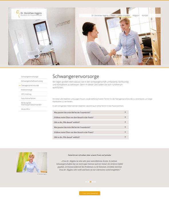 Webdesign für Ärzte, Referenz Dr. Higgins, Schwangerenvorsorge