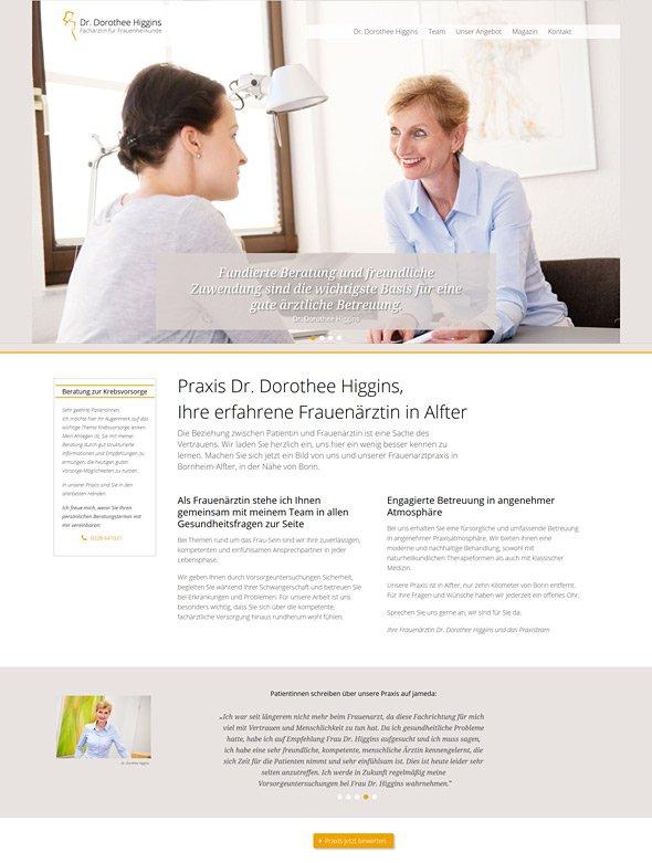 Webdesign für Ärzte, Referenz Dr. Higgins, Startseite