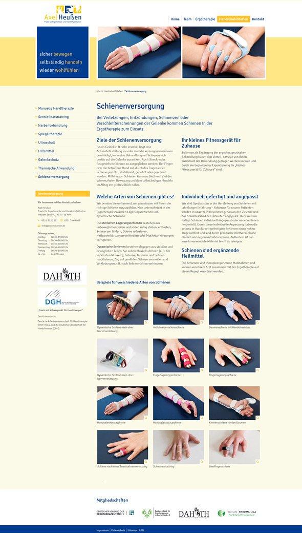Webdesign für Ergotherapie Heussen, Köln. Schienenversorgung