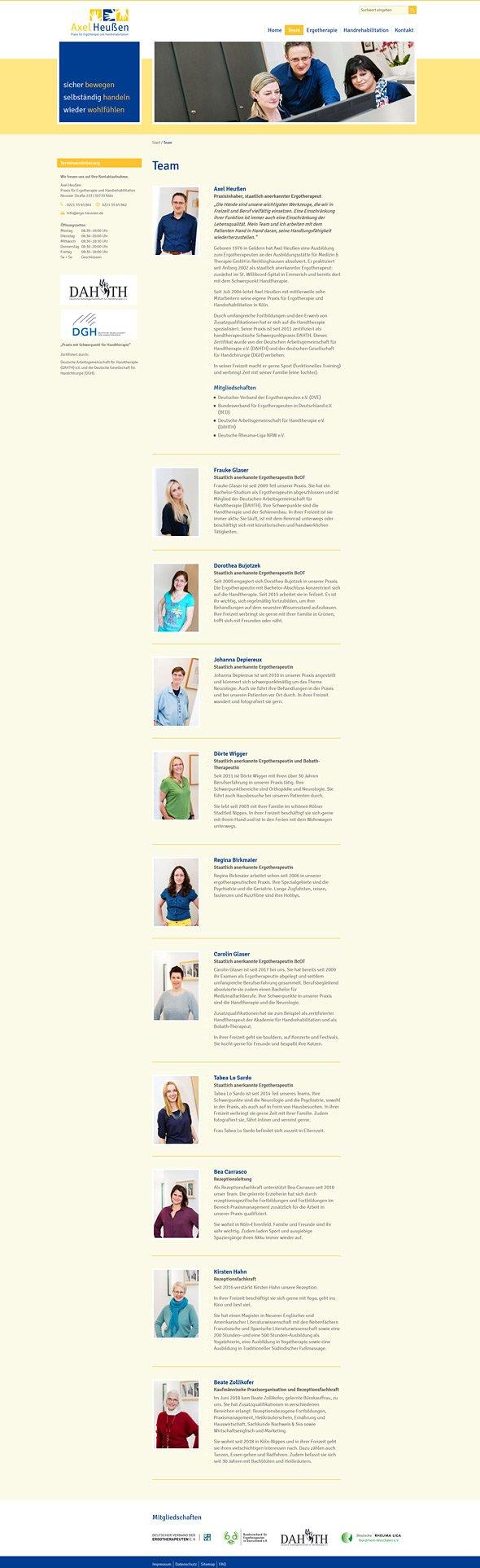Webdesign für Ergotherapie Heußen, Köln. Team.