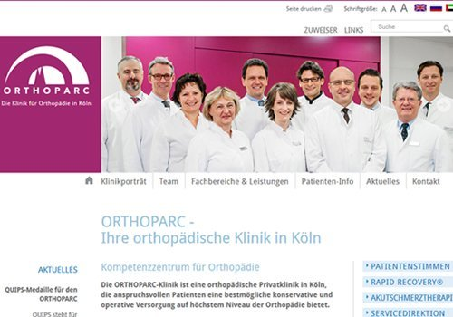 Webdesign Köln, Erfolgsbeispiel ORTHOPARC Klinik