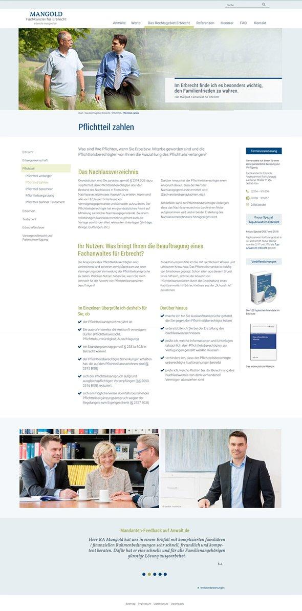 Webdesign Köln, Webdesign-Ansicht ganze Seite für Rechtsanwalt Ralf Mangold