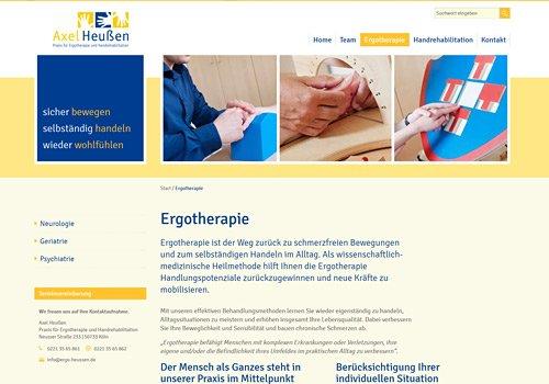 Webdesign für Ergotherapie Heußen, Referenzauswahl