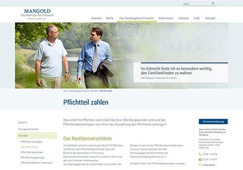 Webdesign Köln, Webdesign für REchtsanwalt Ralf Mangold,Referenz- Auswahl