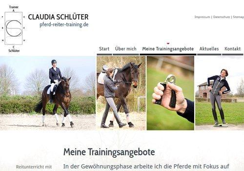 Webdesign Köln, Erfolgsbeispiel Claudia Schlüter, Pferd-Reiter-Training