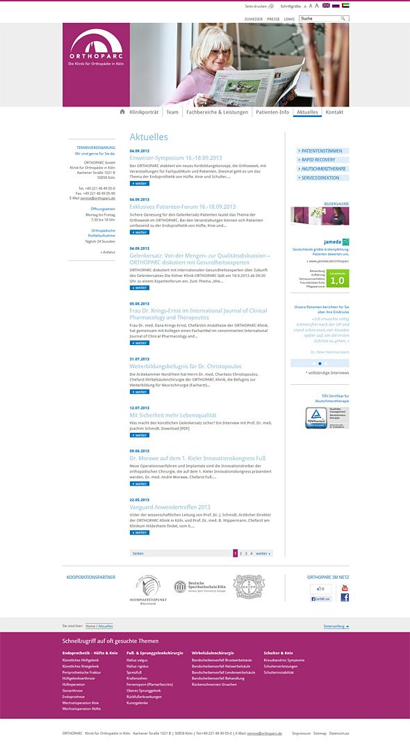 ORTHOPARC Klinik Köln Webdesign