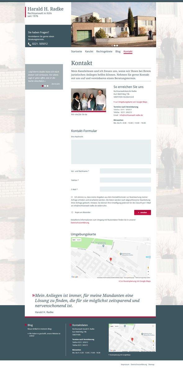 Webdesign Rechtsanwalt Radke, Kontakt
