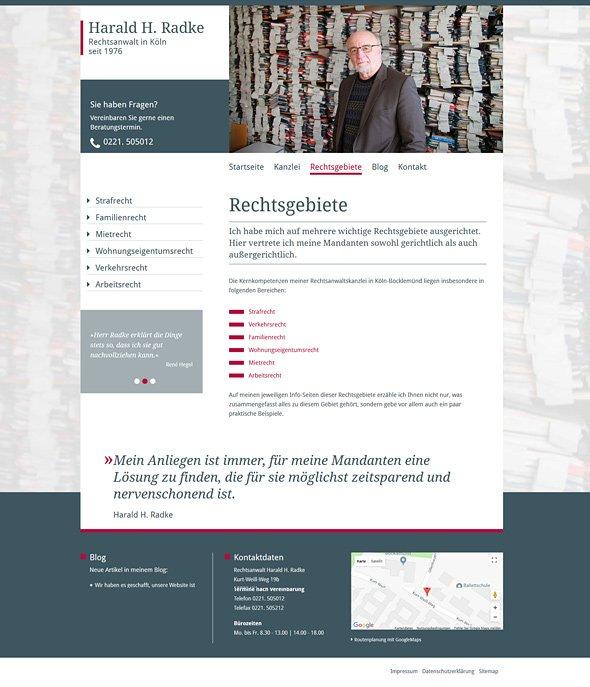 Webdesign Rechtsanwalt Radke Köln, Rechtsgebiete