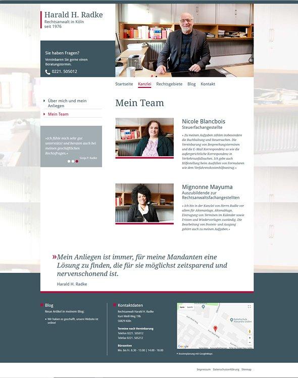 Webdesign Rechtsanwalt Radke Köln, Team