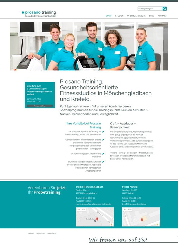 Webdesign-Referenz prosano training Fitnessstudio