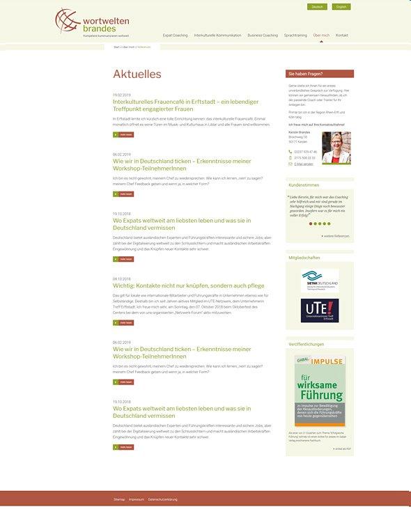 Webdesign für Coaches & Berater, Wortwelten Brandes, Aktuelles