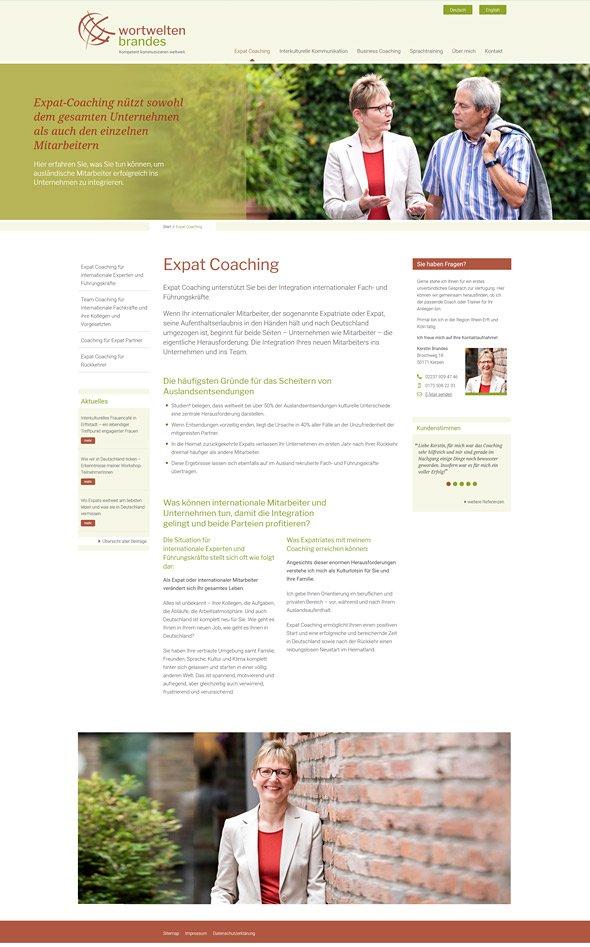 Webdesign für Coaches & Berater, Wortwelten Brandes, Startseite