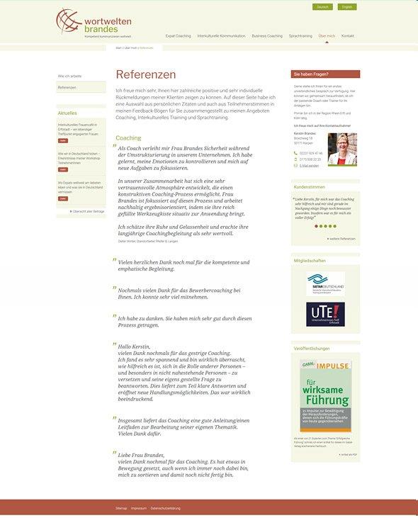 Webdesign für Coaches & Berater, Wortwelten Brandes, Referenzen