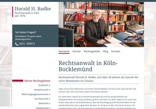 Webseite erstellen lassen Köln, Webdesign Rechtsanwalt Radke